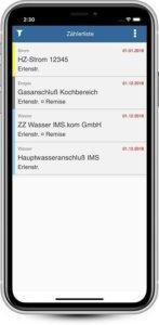 IMSWARE App Energy meter list
