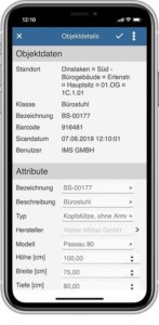 App inventory object details